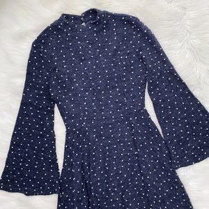Altar'd State Blue Polka Dot Bell Sleeve Dress